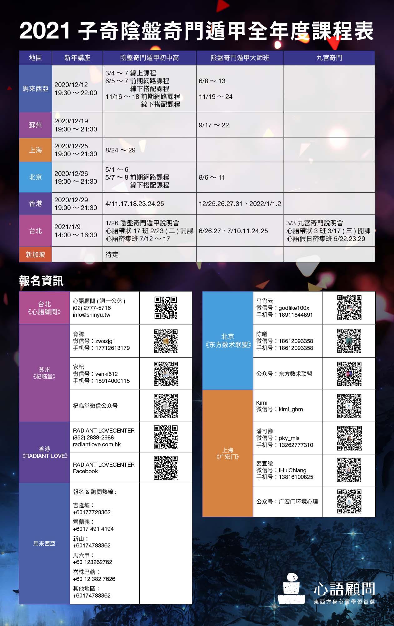 奇門2021全年度課程表